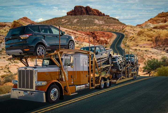 car hauler on the road